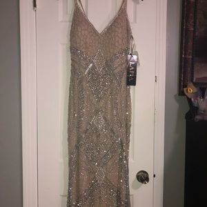 Long nude with silver bedding dress !!